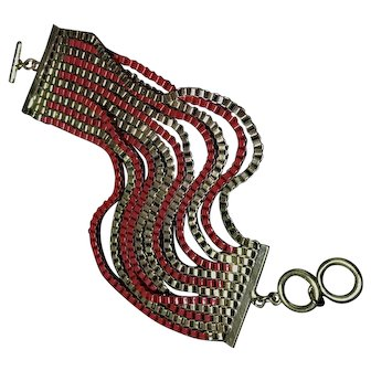 Brass and Red Enamel Cuff Bracelet