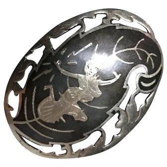 Siamese Sterling Silver Inlay Brooch