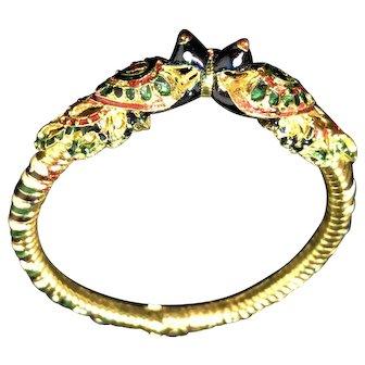 Hand-Painted Enamel Peacock-Encrusted Bracelet