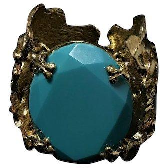 Gold Tone and Imitation Turquoise Cuff Bracelet