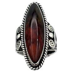 Vintage ring long deep earthy Jasper stone sterling silver S6 southwestern