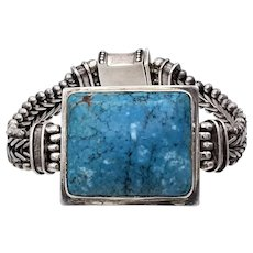 "Vintage sterling silver chunky bracelet large stunning 1""x1.2"" blue turquoise 62+g"