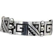 Vintage Taxco Mexican silver geometric bracelet Isidro Garcia Pina - Maricela 41g