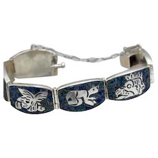 Vintage Taxco Mexican sterling silver bracelet stone inlay mosaic figural by Miguel Melendez