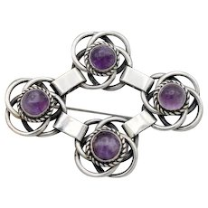Vintage Taxco Mexican sterling silver large 4 Amethyst brooch 38+g