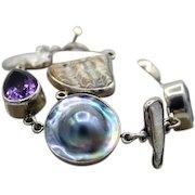 Vintage THE DREAMER bracelet sterling silver Amethyst Citrine MOP extra link