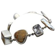 Vintage THE DREAMER multi stone sterling silver bracelet signed stunning rutilated quartz