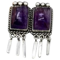 Vintage Mexican Silver brooch 2 large matching amethyst tapered dangles 40s