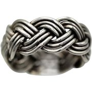 Vintage Taxco Mexican ring sterling silver wide braided great look signed