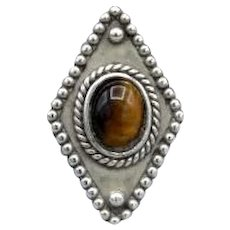 Vintage sterling silver statement Navette ring Tigers Eye stone 7.5