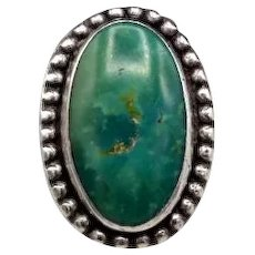 Vintage ring aqua green turquoise sterling silver southwestern S5