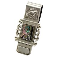 Vintage Taxco Mexican silver Art Deco nude +carved Abalone Money Clip 25+g
