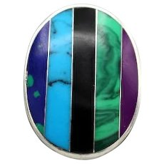 Vintage Taxco Mexican Sterling Silver multicolor gemstone inlay  pendant by CII