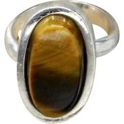 Vintage Taxco Mexican 950 silver chunky oval ring matching chunky Tigers Eye stone 12g