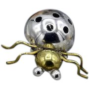 Vintage Taxco Mexican sterling silver Spider / bug brooch w black enamel dots signed Mid-Century