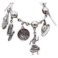Vintage Taxco Mexican sterling silver bullfight scene w 9 charms bracelet by FARFAN 52+ grams