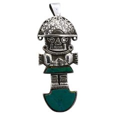 Vintage sterling silver Mayan/ Peruvian? figural warrior pin pendant 1940s