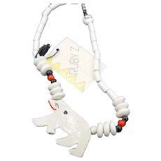 Vintage new old stock RUBY-Z Finneran white ceramic Polar Bear necklace w tag