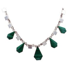 Vintage Taxco Mexican Sterling SIlver Necklace outstanding 5 sided Malachite links 84g