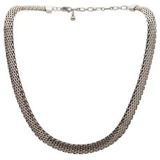 "Vintage sterling silver concave tight weave pattern necklace 15 - 17""  signed"