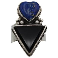 Vintage sterling silver w blue lapis heart onyx triangle ring bezel set detailed 14+g