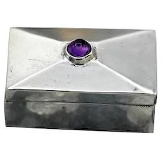Fantastic vintage miniature Taxco Mexican sterling silver box amethyst 11g 1940