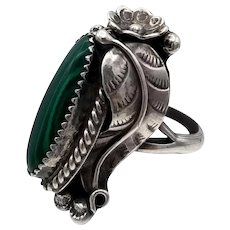 Vintage Southwest Style NA Sterling Silver Malachite Ring very detailed leaves flowers 11+g