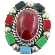 Vintage Taxco Mexican sterling silver ring multi color enamel w deep red stone S8.5