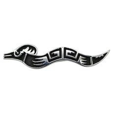 Vintage sterling silver snake serpent figural brooch 'etched' in the niello work Signed