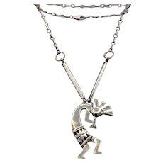 Vintage Native necklace w large Kokopelli pendant wonderful patina