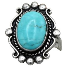 Vintage Native American sterling silver ring gorgeous blue turquoise Bell Trading Post S 7