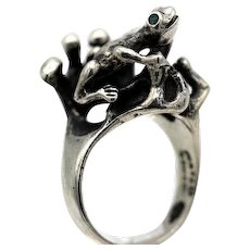 Vintage Taxco Mexican ring 950 silver Tree Frog green eyes brutalist figural S 8.5