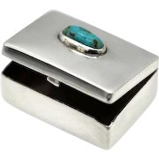 Vintage Taxco Mexican Mini sterling silver turquoise pill box Fred Davis signed FD 1940's