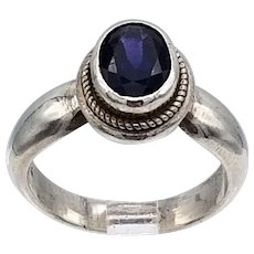 Vintage ring great form, faceted amethyst high bezel set sterling silver S6.5