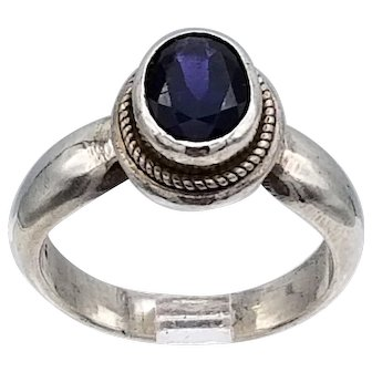 Vintage ring great form, faceted amethyst high bezel set sterling silver S6.5