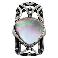 Vintage Ring Sterling silver Arts and Crafts pink abalone heart openwork S7.5