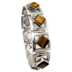 Vintage Taxco Mexican sterling silver tigers eye square 'open' links Meguel Melendez 57g