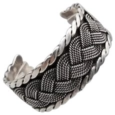 Vintage 1940 Hector Aguilar iconic braided cuff bracelet 940 silver 90.92 grams
