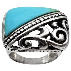 Vintage ring sterling silver turquoise openwork southwestern large rectangle S6