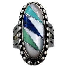Vintage Ring southwestern C. Pollack turquoise MOP multi-color inlay sterling silver S6