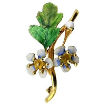14K Gold brooch beautiful enamel flowers bud branch bright greens white blue yellow 5.6 grams