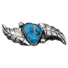 Vintage Native American brooch sterling silver beautiful blue turquoise flower leaves