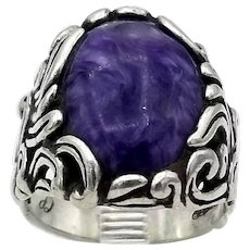 Vintage ring early Catherine Pollack purple white swirls agate sterling silver S8