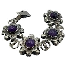 Vintage Taxco Bracelet sterling silver 4 amethyst flower chunky links 1940's 66g