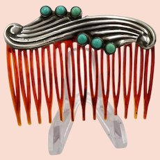 Vintage Mexican hair comb sterling silver 6 turquoise rounds by AE in a heart