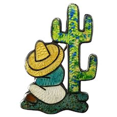 Vintage Mexican sterling silver enamel Brooch J Fuentes person cactus big sombrero 1