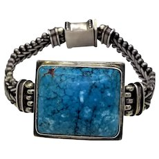 Vintage sterling silver bracelet very large blue rectangle turquoise center stone