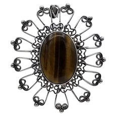 """Vintage Taxco Mexican statement brooch / pendant sterling silver Lg Tigers Eye 3"""""""