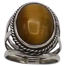 Vintage sterling silver ring southwestern bright large tiger eye triple shank S10
