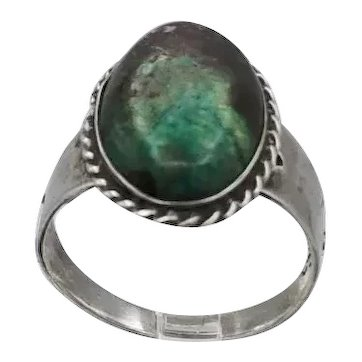 Vintage Taxco Mexican sterling silver ring greenish + brown Turquoise S9